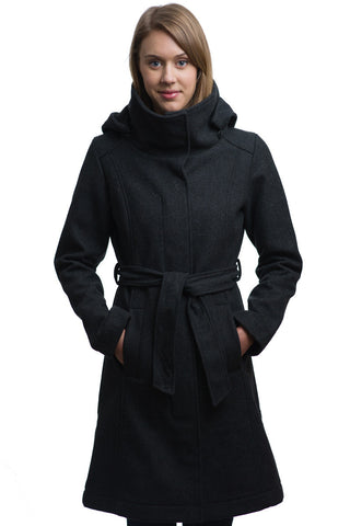 Black Waterproof Wool Trench Coat