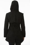 Short Black Modern Waterproof Trench Back