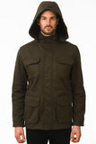 Olive Modern Waterproof Field Jacket Hood