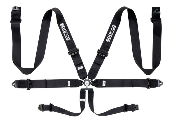 "Sparco Black 6 Point Hans Compatible 3"" Shoulder Straps Steel Pull Up Belts Race Safety Harness - 04818RACNR"