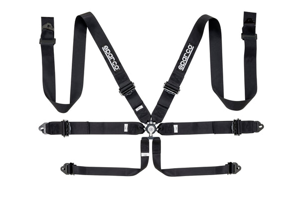 "Sparco Black 6 Point Hans Compatible 3"" Shoulder Straps Aluminum Pull Up Belts Race Safety Harness - 04818RALNR"