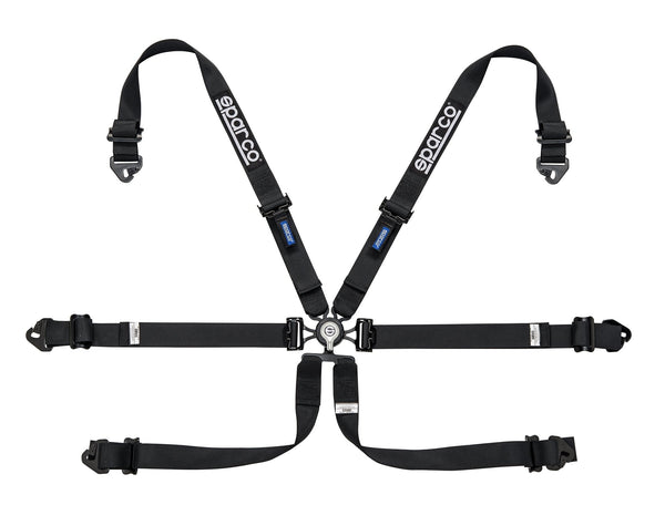 "Sparco Black 6 Point Hans Compatible 2"" Shoulder Straps Aluminum Pull Down Belts Race Safety Harness - 04818RALPDNR"