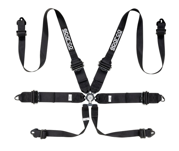 "Sparco Black 6 Point Hans Compatible 3"" to 2"" Shoulder Straps Aluminum Pull Up Belts Race Safety Harness - 04818RHALNR"
