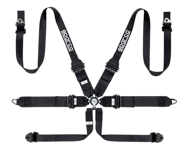 "Sparco Black 6 Point Hans Compatible 3"" to 2"" Shoulder Straps Aluminum Pull Down Belts Race Safety Harness - 04818RHALPDNR"