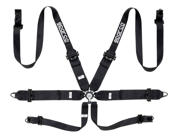 "Sparco Black 6 Point Hans Compatible 3"" to 2"" Shoulder Straps Steel Pull Up Belts Race Safety Harness - 04818RHNR"