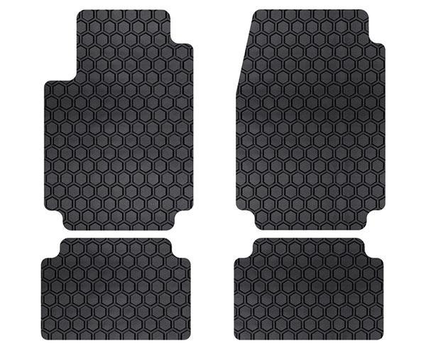 Custom Fit Auto Floor Mats for Select Honda Fit Models Gray Intro-Tech HO-684-RT-G Hexomat Front and Second Row 4 pc Rubber-like Compound