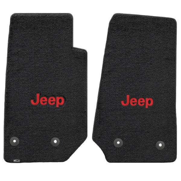 Lloyd Mat's Jeep WRANGLER UNLIMITED 2014-2016 Front Floor Mats BLACK VELOURTEX RED JEEP LOGO - 620065 - (2016 2015 2014)