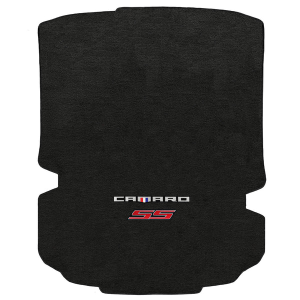 Lloyd Mat's CHEVROLET CAMARO 2016-2017 COUPE Trunk Floor Mats EBONY VELOURTEX CAMARO + SS RED DOUBLE LOGO - 620198 - (2017 2016)