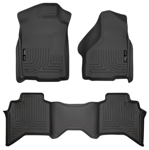 Husky Liners WeatherBeater Front & 2nd Seat Rear Floor Liners Mat for 2003-2009 Dodge Ram 3500 Crew Cab Pickup - 98031 [2009 2008 2007 2006 2005 2004 2003]