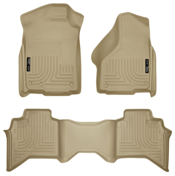Husky Liners WeatherBeater Front & 2nd Seat Rear Floor Liners Mat for 2003-2009 Dodge Ram 3500 Crew Cab Pickup - 98033 [2009 2008 2007 2006 2005 2004 2003]