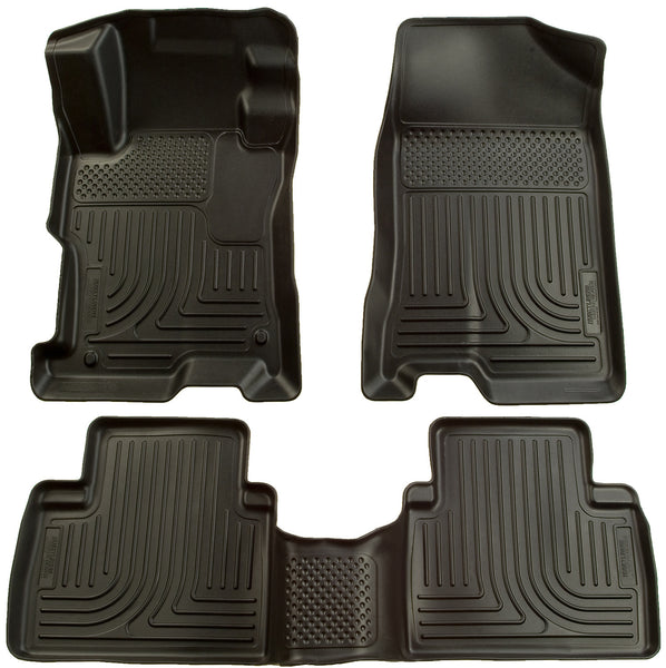 Husky Liners WeatherBeater Front & 2nd Seat Rear Floor Liners Mat for 2006-2011 Honda Civic - 98411 [2011 2010 2009 2008 2007 2006]