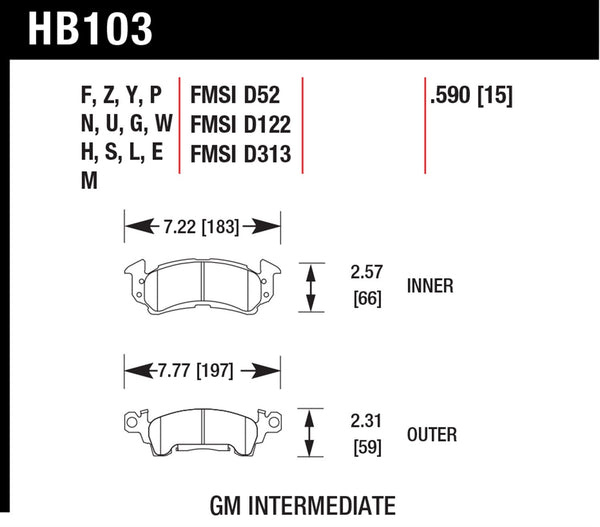 Hawk HPS 5.0 Brake Pads for 1973-1973 Chevrolet Camaro 4.1 L6 - Front - HB103B.590 - (1973)