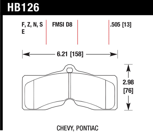 Hawk HPS 5.0 Brake Pads for 1975-1982 Chevrolet Corvette - Front - HB126B.505 - (1982 1981 1980 1979 1978 1977 1976 1975)