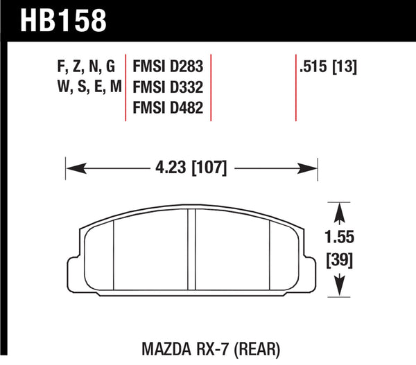 Hawk HPS 5.0 Brake Pads for 1984-1985 Mazda RX-7 GSL-SE 1.3 R2 - Rear - HB158B.515 - (1985 1984)