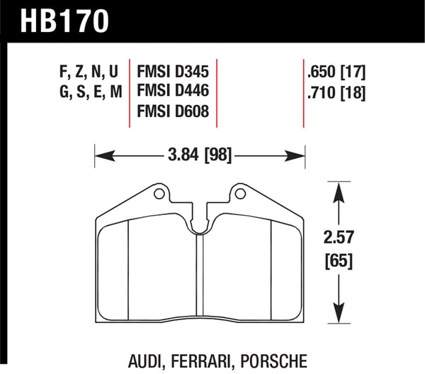 Hawk HPS 5.0 Brake Pads for 1981-1983 Porsche 911 SC 3.0 H6 - Front - HB170B.650 - (1983 1982 1981)