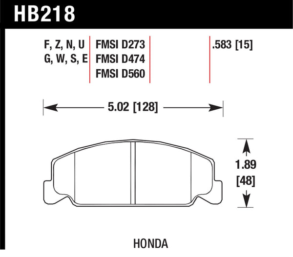 Hawk HPS 5.0 Brake Pads for 1985-1985 Honda Accord S 1.8 L4 - Front - HB218B.583 - (1985)