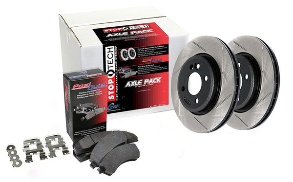 StopTech Front Axle Pack Street Slotted Brake Rotors and Brake Pads for 2005-2008 Audi A6 QUATTRO V8 4.2 - 937.33014 - (2008 2007 2006 2005)