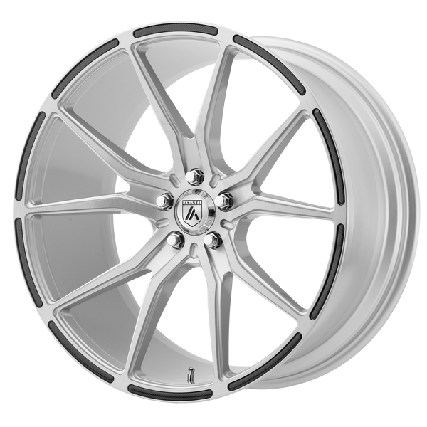 "ASANTI VEGA Brushed Silver Carbon Fiber Insert Wheels for 2017-2018 TESLA S - 20"" x 9"" 35 mm 20"" - (2018 2017)"