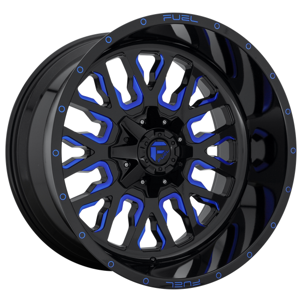 "FUEL STROKE GLOSS BLACK BLUE TINTED CLEAR Wheels for 1999-2004 FORD F-350 SUPER DUTY LIFTED ONLY - 18x9 -12 mm 18"" - (2004 2003 2002 2001 2000 1999)"