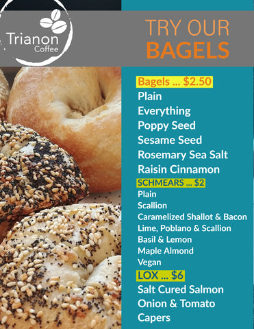 Bagels Menu at Trianon Coffee