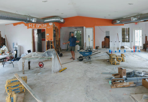 Interior view of new location of Trianon Coffee during renovations