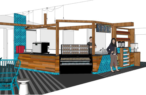 Trianon Coffee design by High Contrast Design House showing bar area with locally made aqua tiles
