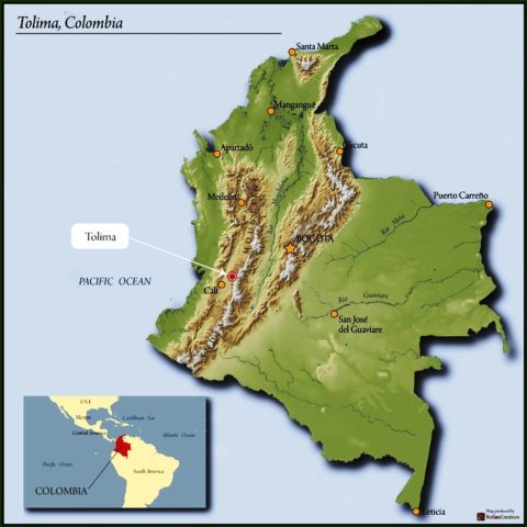Tolima, Colombia map