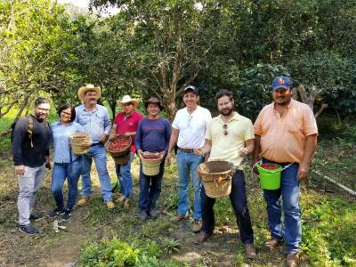 Ben & Jake from Crop to Cup with coffee producers in Mexico