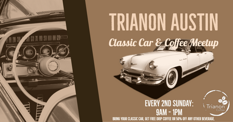 Classic Cars and Coffee Meetup at Trianon Coffee in West Lake HIlls.