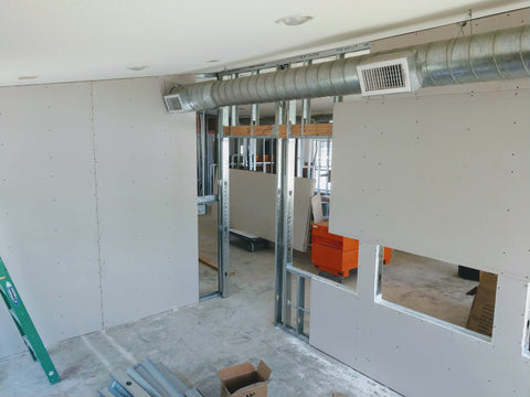 Sneak peek of large reservable conference room under construction