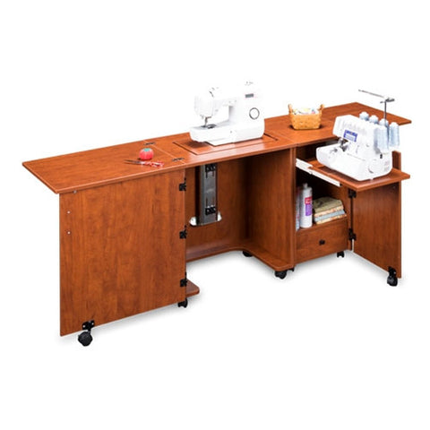 Compact Sewing Machine & Serger Cabinet in Sunset Cherry