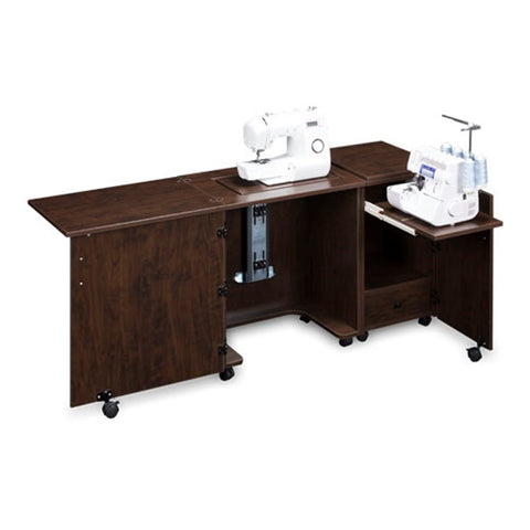 Compact Sewing Machine & Serger Cabinet in Brown Pear Wood