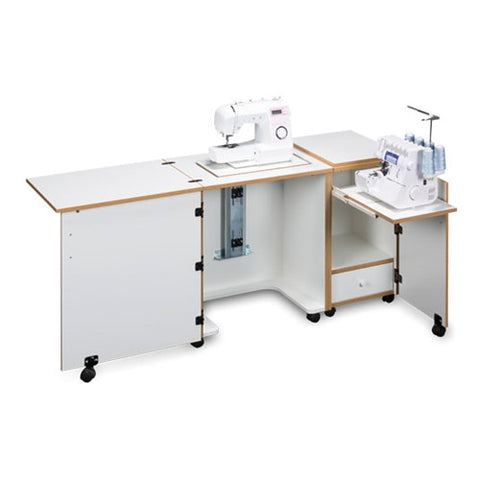 Compact Sewing Machine & Serger Cabinet in White with Oak Trim
