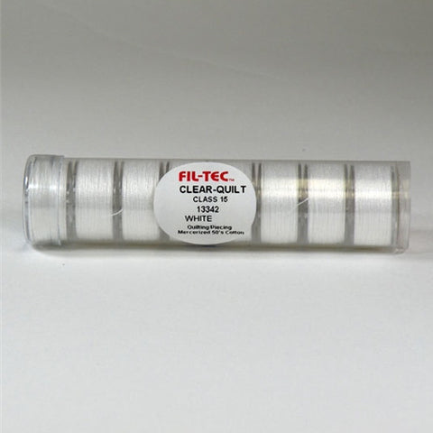 Clear-Quilt Class 15 Cotton Bobbin in White Tube of 8