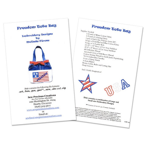 Freedom Tote Bag Design Disk by Sew Precious