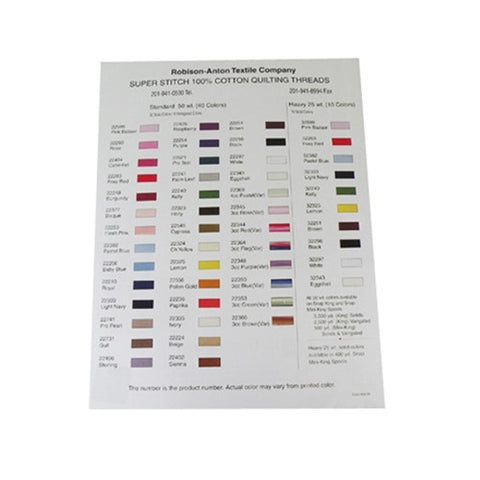 Robison-Anton 100% Cotton Quilting Thread Color Chart with colors and color numbers