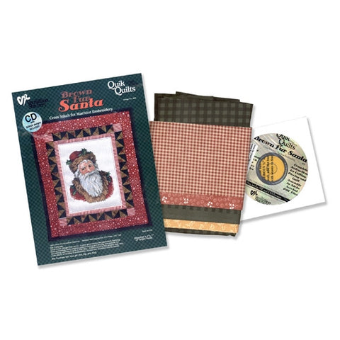 Brown Fur Santa Quik Quilt Kit by Vermillion Stitchery
