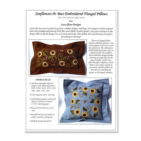 Sunflower & Bees Flanged Pillows by Susa Glenn