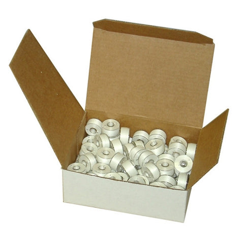 Clear-Glide Class 15 Poly Bobbin in White, Box of 80
