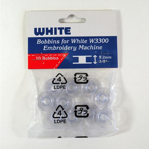 Bobbins for White W3300 Embroidery Machine, Pack of 10