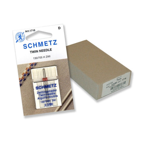 80/2.0 Schmetz Twin Needle in a Carded 1 Pack