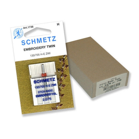 75/2.0 Schmetz Twin Embroidery Needle in a 1 Pack