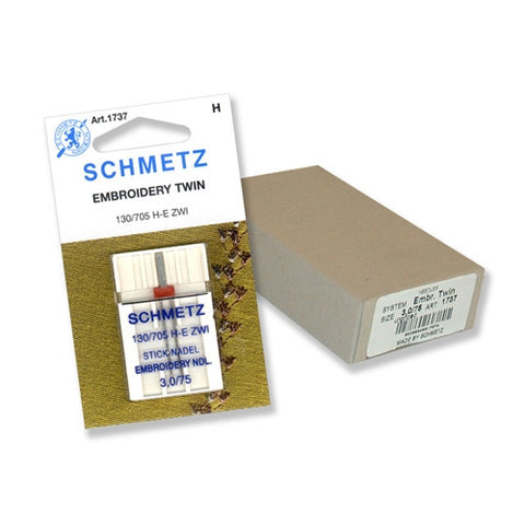 75/3.0 Schmetz Twin Embroidery Needle in a 1 Pack