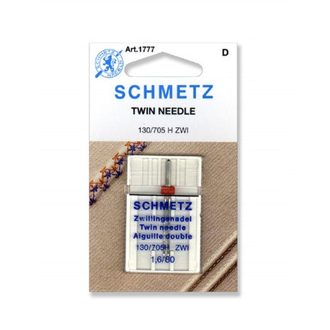 80/1.6 Schmetz Twin Needle, 1 pack on a Card
