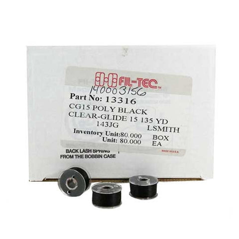 Clear-Glide Class 15 Poly Bobbin in Black, Box of 80