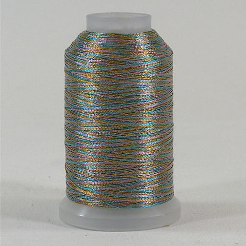 YLI Fine Metallic in Variegated Blue Pink, 500yd Spool