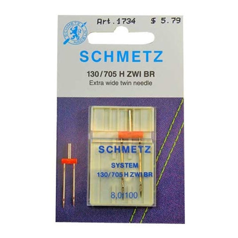 100/8.0 Schmetz Twin Needle in a Carded 1 pack