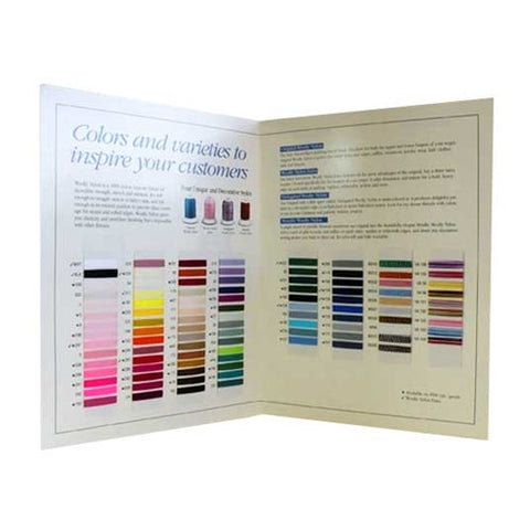 Woolly Nylon Thread Color Card with Actual Thread