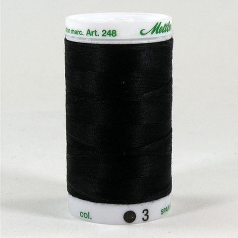 Mettler 60wt Embroidery Cotton in Black, 875yd Spool