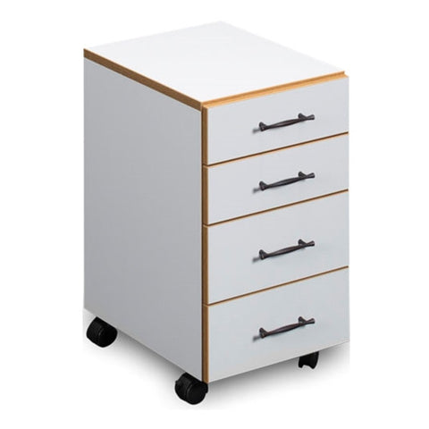 Sylvia Sewing Chest with Four Drawers in White with Oak Trim